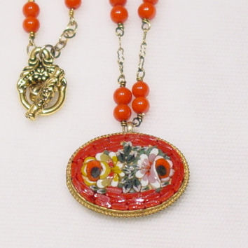 88 Vintage Mosaic Pendant, Coral beaded Necklace