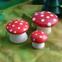 Wooden Toy, Fairy Mushroom Set | theenchantedcupboard - Dolls & Miniatures on ArtFire