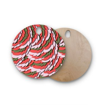 """Akwaflorell """"Wings"""" Green Red Round Wooden Cutting Board"""
