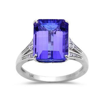 6.11tcw Emerald-Cut Tanzanite with Diamonds in 14K White Gold Wedding Anniversary Ring