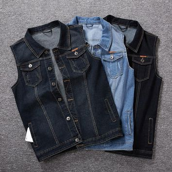 Plus Size 8XL 7XL 6XL Men Denim Vests Men's  Sleeveless Cowboy Jackets Male Vintage Retro Casual Vest Chubby Man Waistcoat