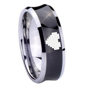 8MM Black Concave Zelda Heart Two Tone Tungsten Carbide Laser Engraved Ring