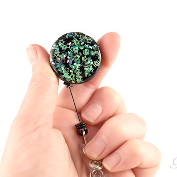 Teal and Black Glitter Badge Reel - Star Glitter ID Reel -  Sparkly Work Bling - Green and Blue ID Holder Badge Reel - Sparkly Stars