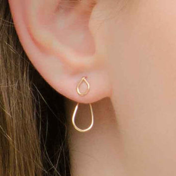 CHRISTMAS SALE - Ear Jacket Earring, Jacket Earrings, Ear Jacket, Minimalist Ear Cuff, Ear Wrap, Gold Ear Jacket