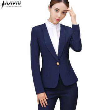 New fashion business pants suits set OL winter formal plus size blazer and Trousers office lady slim Interview work clothes