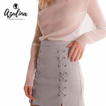 LMFET7 AZULINA Women Leather Suede Pencil Black Mini Skirt 2017 Spring Summer High Waist Short Bodycon Lace Up Skirts Sexy Split Skirts