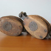 Vintage Industrial Block and Tackle - Boston Lockport - Fords Self Lubricating Bushing