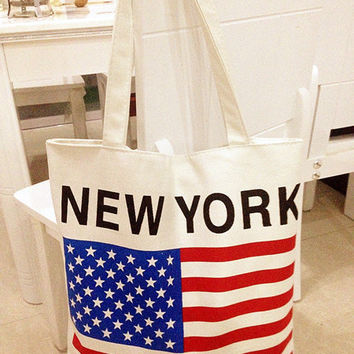 Canvas Stylish Print Tote Bag Shoulder Bag [11550525455]
