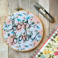 Boss Babe hand embroidery hoop art. Colorful floral fabric. 6 inch hoop. Feminist art