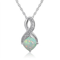 Created Opal and Diamond Pendant-Necklace in Sterling silver