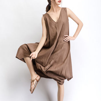 Linen Maxi Dress Brown Tan Women Summer Dress  (C488)