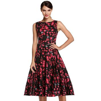 Floral Swing Summer Dress Black with Red Flowers