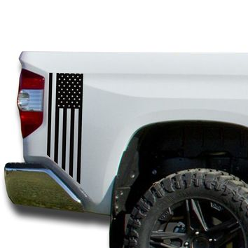 American Flag USA Bedside Decals Vinyl Sticker: fits 2014-2018 Toyota Tundra