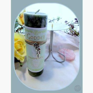 """""""Prosperity"""" Pillar Candle with Goddess Necklace & Candle Holder Set"""