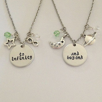 "Disney inspired Toy Story necklace set ""to infinity"" "" and beyond"" Woody Buzz Lightyear hand stamped swarovski crystals charms"