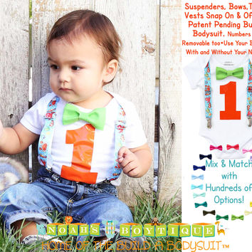 Fish Fishing Ocean Under the Sea First Birthday Outfit for Baby Boys