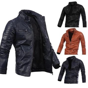Mens multi zipper button collar men's motorcycle leather jacket