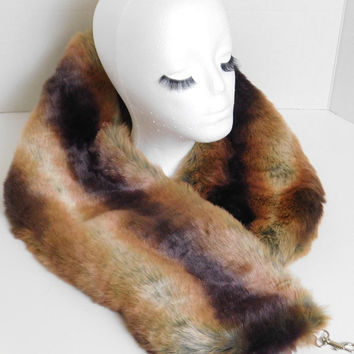 Too Gorgeous! Faux  Fur Scarf (Chinchilla - Mocha) Winter Scarf, Cold Weather Stole, Faux Fur Wrap, Faux Fur collar