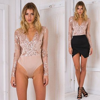 Women Fashion Sequin Perspective Gauze Long Sleeve Deep V-Neck Tops Bodysuit