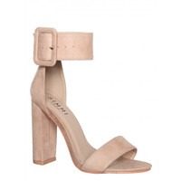 Heidi Nude Suede Buckle Strap Block Heels : Simmi Shoes