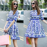 Vintage Blue And White Porcelain Printing Dress