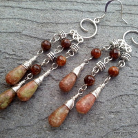 Jasper Chandelier Earrings with silver tone wire wrapping in earth tones - Boho Earrings - Stone Drop Earrings - Jasper Dangle Earrings
