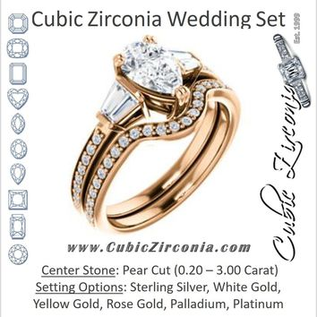 CZ Wedding Set, featuring The Hazel Rae engagement ring (Customizable Pear Cut Design with Quad Baguette Accents and Pavé Band)