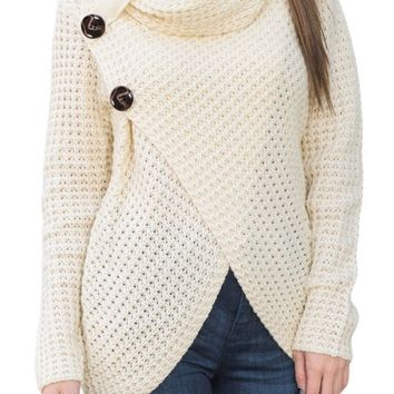 White Button Wrap Cowl Neck Sweater
