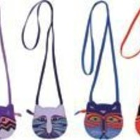 """Laurel Burch Assorted Mini Crossbody Bag W/Zipper Top 6 1/2""""X6"""" Assorted Feline Faces LB4460 (***You will receive one of the bags pictured***)"""