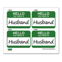 Husband Hello My Name Is - Sheet of 4 Stickers