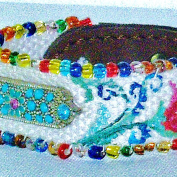 Funky Floral Boho Cuff Hand Painted Colorful Flowers Woven Bohemian Beaded Bracelet