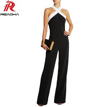 Jumpsuits for Women 2016 Hot Playsuit Overall Black White Stitching Women's Sexy slim Halter Full Length Pants Coveralls Rompers