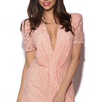 Pink Deep V Neck Semi Sheer Lace Playsuit