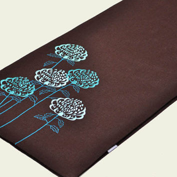 "Table Runner, Linen table runner, Dark Brown Linen Teal Flowers Embroidery 14"" x 64"",Table Linen, Long table runner, custom wedding runner"