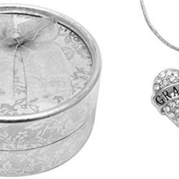 Mother's Day Gift for Grandma Best Grandma Ever Poem Boxed Jewelry Gift Set Engraved Pendant Necklace Jewelry For Grandma Crystal Adorned Heart Shaped Pendant Snake Chain Necklace with Gift Box for Grandma or Mom Colorless