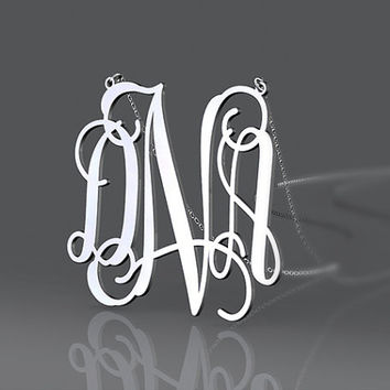 Silver jewelry monogram necklace 1.5 inch with 3 initial name monogram necklace for partner