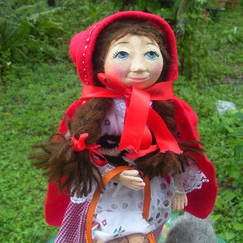 Red Riding Hood handmade folk art doll OOAK & Big Bad Wolf