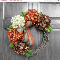 CHRISTMAS IN JULY Fall Hydrangea Wreaths, Fall Wreaths Etsy, Fall Hydrangea Wreaths for Front Door, Front Door Wreaths, Outdoor Autumn Wreat