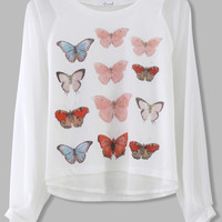 Butterfly Print Top with Chiffon Sleeves