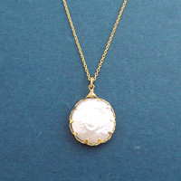 Mother of Pearl, Coin, Gold, Necklace, Birthday, Best friends, Mom, Sister, Gift, Jewelry