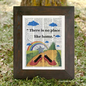 There is no place like home Dorothy Ruby Red Wizard of Oz dictionary print - on Upcycled Vintage Dictionary page - by NATURA PICTA