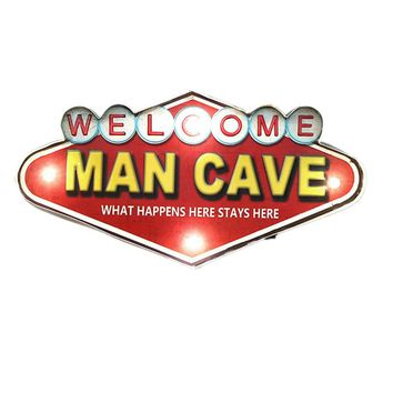 Shabby Chic Man Cave Neon Signs For Bar Cafe Garage Cuba Kitchen Wall Decorative Vintage Metal Sign Welcome Led Door Plate YN093