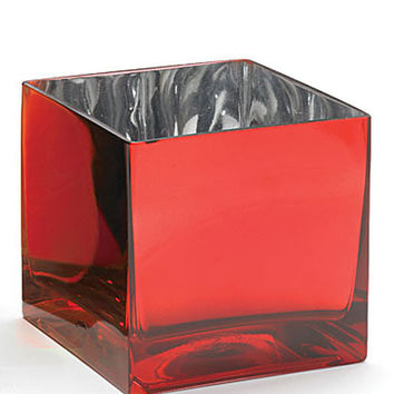 Metallic Finish Glass Square Vase