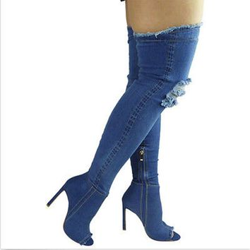 Top Quality Women Denim Knee Boots Heel Pumps 2017 Women Sexy Open Sock Hip High Zipper Side Boots Shoes
