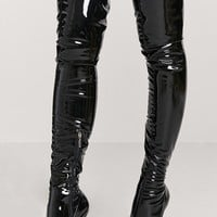 Faux Patent Leather Thigh-High Boots