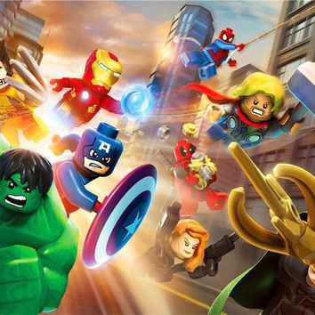 Custom Mural Lego Wallpaper Lego Poster Hulk Sticker Marvel Comics Superheroes Lego Avengers Wall Stickers Home Decor #2787#