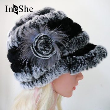 IneShe Women Genuine Fur Hats Caps Knitting Rex Rabbit Fur Russian Hat Natural Stripe Fur Hats Female Winter Warm Beanies M3002