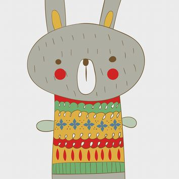 Contemporary Bunny Rabbit in a Colorful Knit Sweater Hand Embroidery Pattern