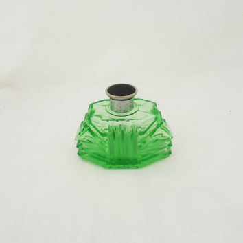 Vintage Czech Green Glass Perfume Bottle, Green Glass Perfume Decanter, Czech Green Glass