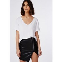 Alanis Faux Leather Asymmetric Zip Detail Skirt Black - Skirts - Missguided